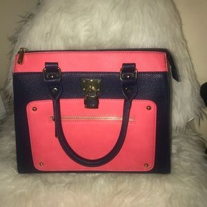 Charming Charlie Pink and Navy Blue Purse/Handbag